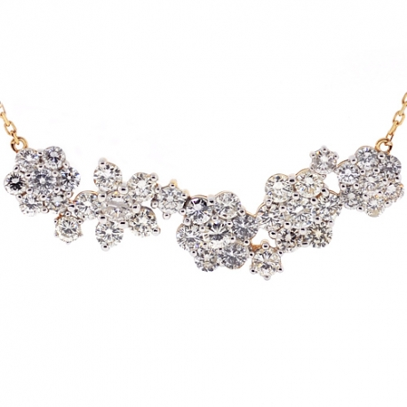 Womens Diamond Cluster Flower Necklace 14k Yellow Gold 4 08 Ct