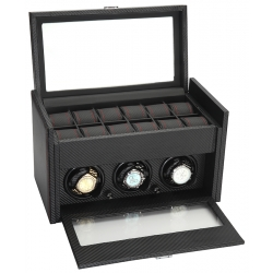 Triple Watch Winder Storage 34-703 Diplomat Modena Carbon Fiber