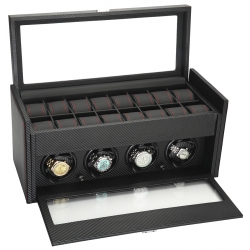 Quad Watch Winder Storage 34-704 Diplomat Modena Carbon Fiber