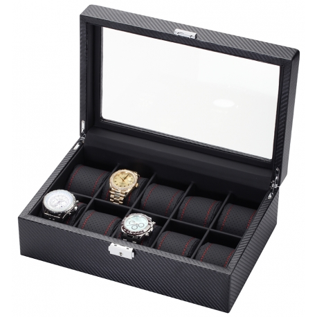 Ten Watch Display Case Box 34-705 Diplomat Modena Carbon Fiber