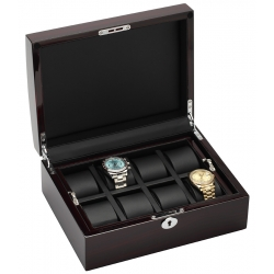 34-721 Diplomat Prestige Ebony Wood 8 Watch Box Storage