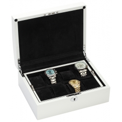 34-722 Diplomat Prestige White Wood 8 Watch Box Storage