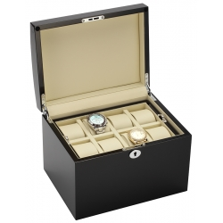 34-725 Diplomat Prestige Black Wood 16 Watch Box Storage