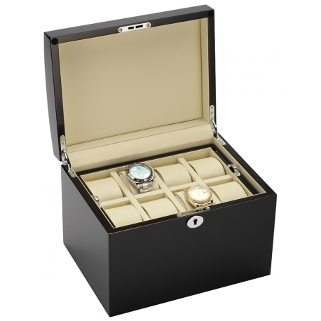 Ten Watch Box Storage 34-725 Diplomat Prestige Black Wood
