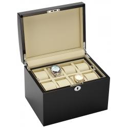 34-725 Diplomat Prestige Black Wood 16 Watch Box Storage