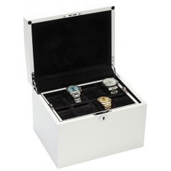 34-727 Diplomat Prestige White Wood 16 Watch Box Storage