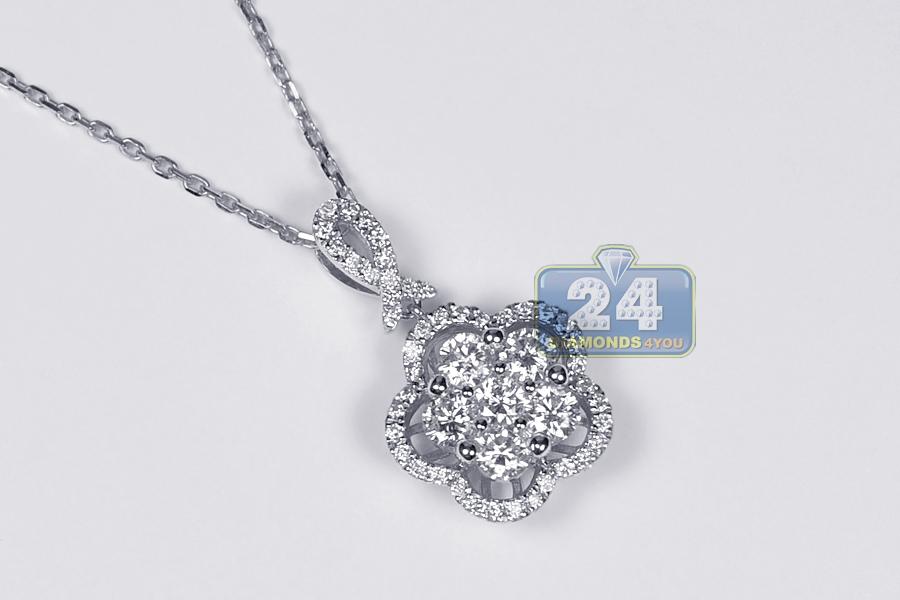 Womens diamond cluster drop necklace 14k white gold 125 ct aloadofball Choice Image