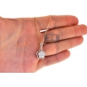 Womens Diamond Cluster Drop Halo Pendant 14K Yellow Gold 1.26ct