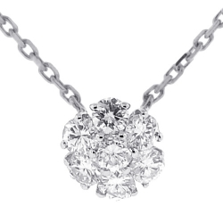 14K White Gold 0.97 ct Diamond Cluster Womens Necklace 16 Inches