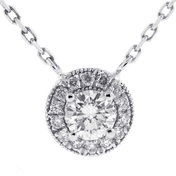 Womens Diamond Drop Halo Pendant Necklace 14K White Gold 0.85ct