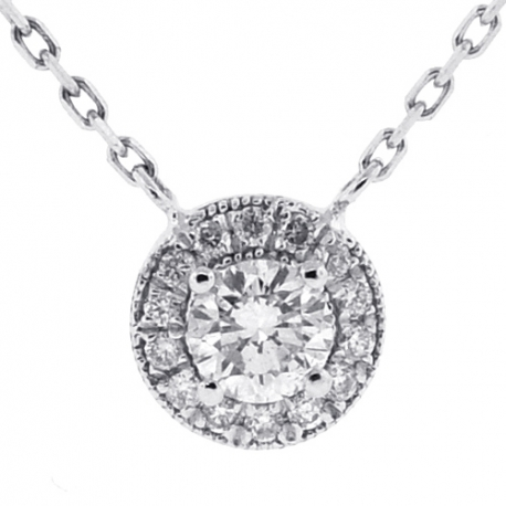 Womens Diamond Drop Halo Pendant Necklace 14K White Gold 0.85ct