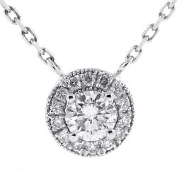 14K White Gold 0.85 ct Diamond Drop Halo Pendant Necklace
