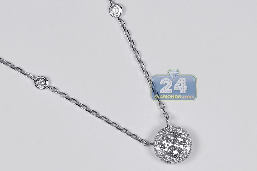 Brand new Womens Diamond Drop Halo Pendant Necklace 14K White Gold 0.85ct EB65