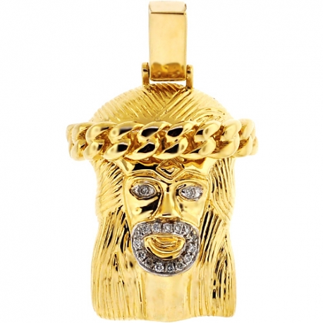 Mens Diamond Jesus Christ Face Religious Pendant 14K Yellow Gold