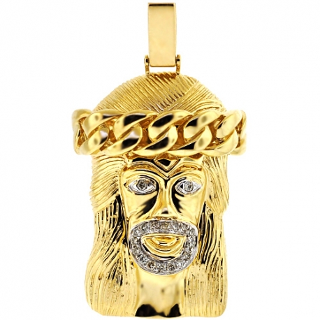 "Mens Diamond Jesus Christ Pendant 14K Yellow Gold 0.42ct 2.25"""