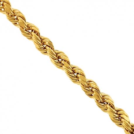 "10K Yellow Gold Diamond Cut Hollow Rope Chain 3 mm 24 26 28 30"""