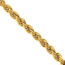 10K Yellow Gold Diamond Cut Hollow Rope Chain 3 mm