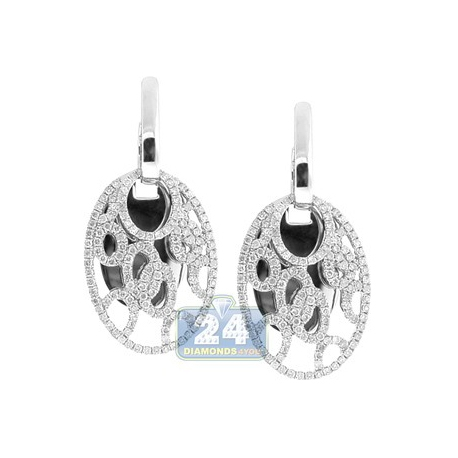 Womens Diamond Openwork Oval Earrings 14K White Gold 1.22 Carat
