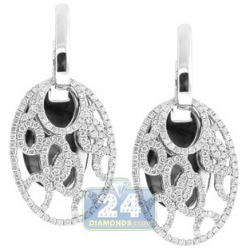 14K White Gold 1.22 ct Diamond Womens Openwork Oval Earrings