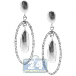 14K White Gold 0.46 ct Diamond Womens Oval Dangle Earrings