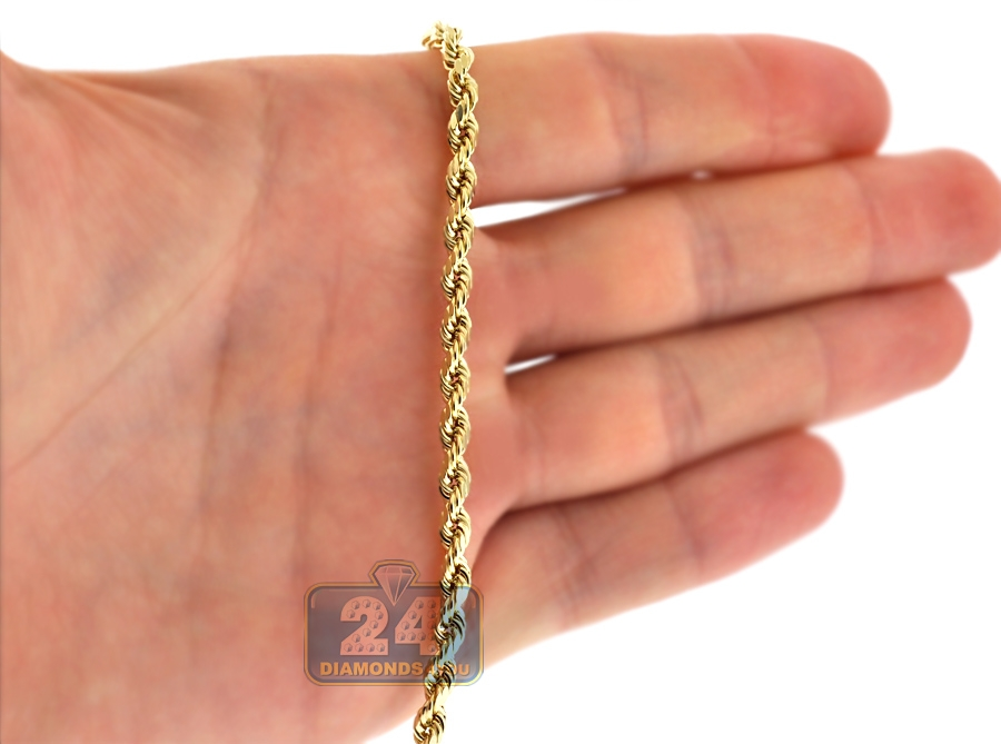 10k Yellow Gold Diamond Cut Hollow Rope Chain 4 Mm 26 28 30 Quot