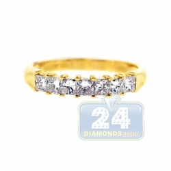 14K Yellow Gold 0.76 ct Princess Diamond Womens Wedding Ring
