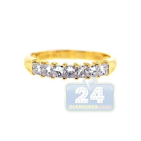 14K Yellow Gold 0.76 ct Princess Diamond Womens Wedding Ring