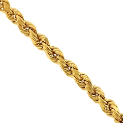 10K Yellow Gold Diamond Cut Hollow Rope Mens Chain 7 mm