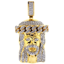 Mens Diamond Jesus Christ Face Pendant 14K Yellow Gold 2.76 ct