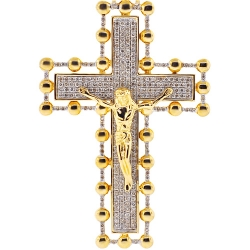 Mens Diamond Crucifix Cross Pendant 14K Yellow Gold 2.67ct 3""
