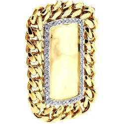 14K Yellow Gold 0.87 ct Diamond Cuban Link Dog Tag Mens Pendant