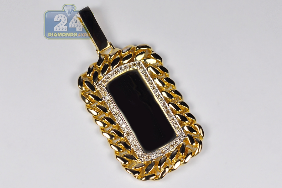Mens diamond cuban link dog tag pendant 14k yellow gold 087 ct aloadofball Choice Image