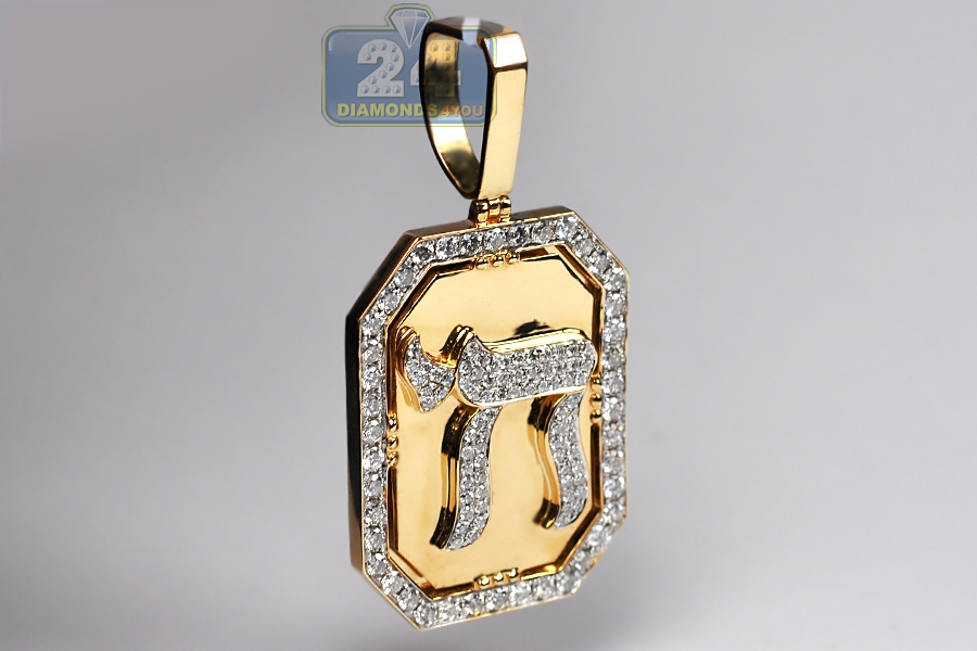 Mens diamond chai pendant medallion 14k yellow gold 366 ct mozeypictures Gallery