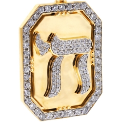 14K Yellow Gold 3.66 ct Diamond Framed Chai Medallion Pendant