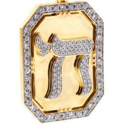 14K Yellow Gold 3.66 ct Diamond Framed Chai Medallion Pendant