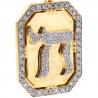 Mens Diamond Framed Chai Medallion Pendant 14K Yellow Gold 3.66ct