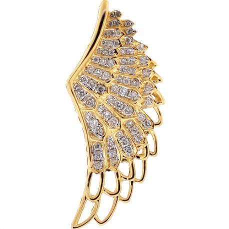 Mens Diamond Open Angel Wing Pendant 14K Yellow Gold 0.81ct