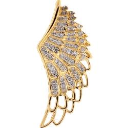14K Yellow Gold 0.81 ct Diamond Open Angel Wing Pendant