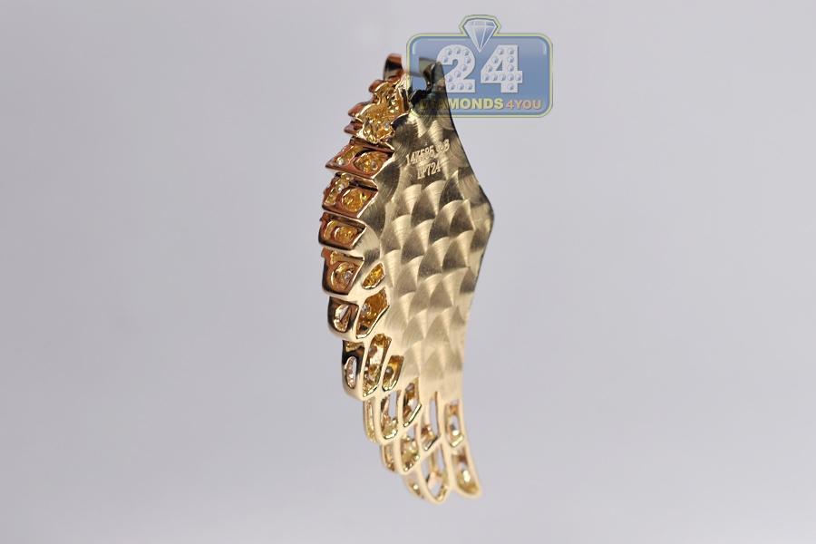 Mens diamond open angel wing pendant 14k yellow gold 081ct aloadofball Choice Image