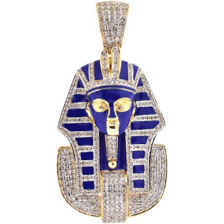 Mens Diamond Blue Enamel Pharaoh Pendant 14K Yellow Gold 2.38 ct
