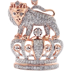 Mens Diamond Lion Crown Pendant 14K Rose Gold 1.69 ct