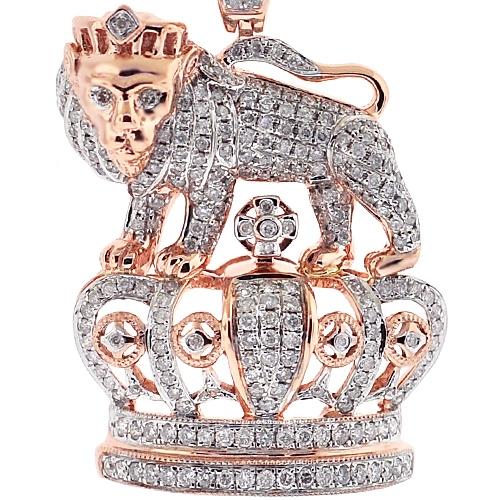 Mens Diamond Lion Crown Pendant 14k Rose Gold 1 69ct 1 75 Quot