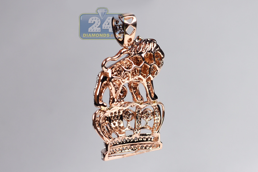 Mens diamond lion crown pendant 14k rose gold 169ct 175 aloadofball Image collections