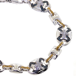 14K White Gold 1.60 ct Blue Diamond Mens Mariner Bracelet