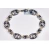 """Mens Blue Diamond Mariner Bracelet 14K White Gold 1.60 ct 9"""""""