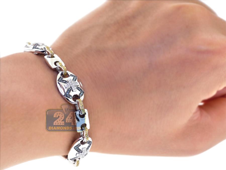 mens blue diamond mariner bracelet 14k white gold ct 9. Black Bedroom Furniture Sets. Home Design Ideas