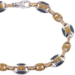 14K Two Tone Gold 2.57 ct Canary Diamond Mens Mariner Bracelet