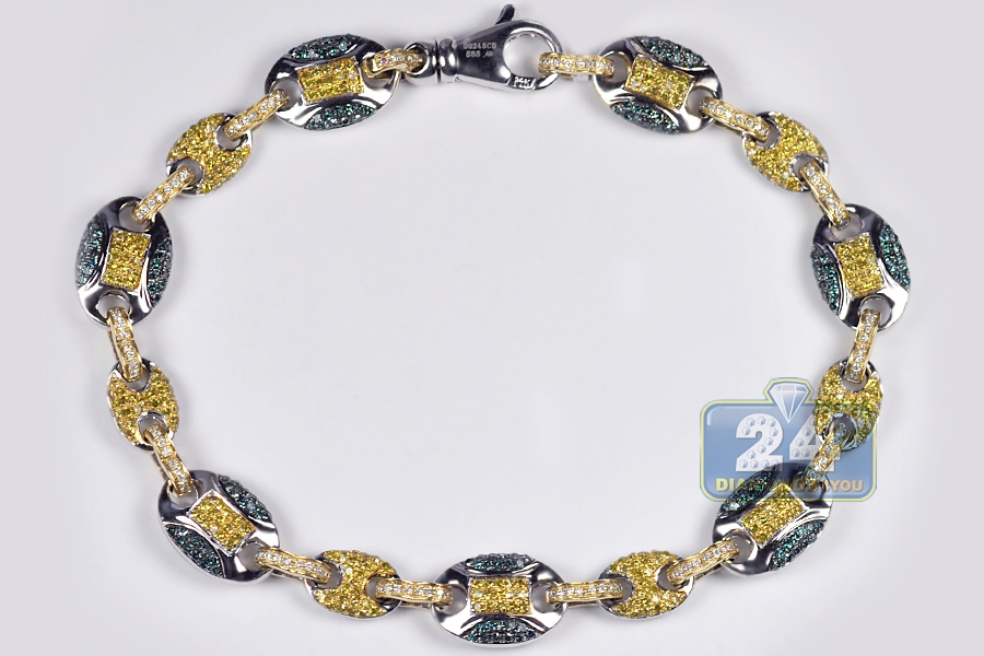 Mens Canary Diamond Mariner Bracelet 14K Two Tone Gold 2 57 ct