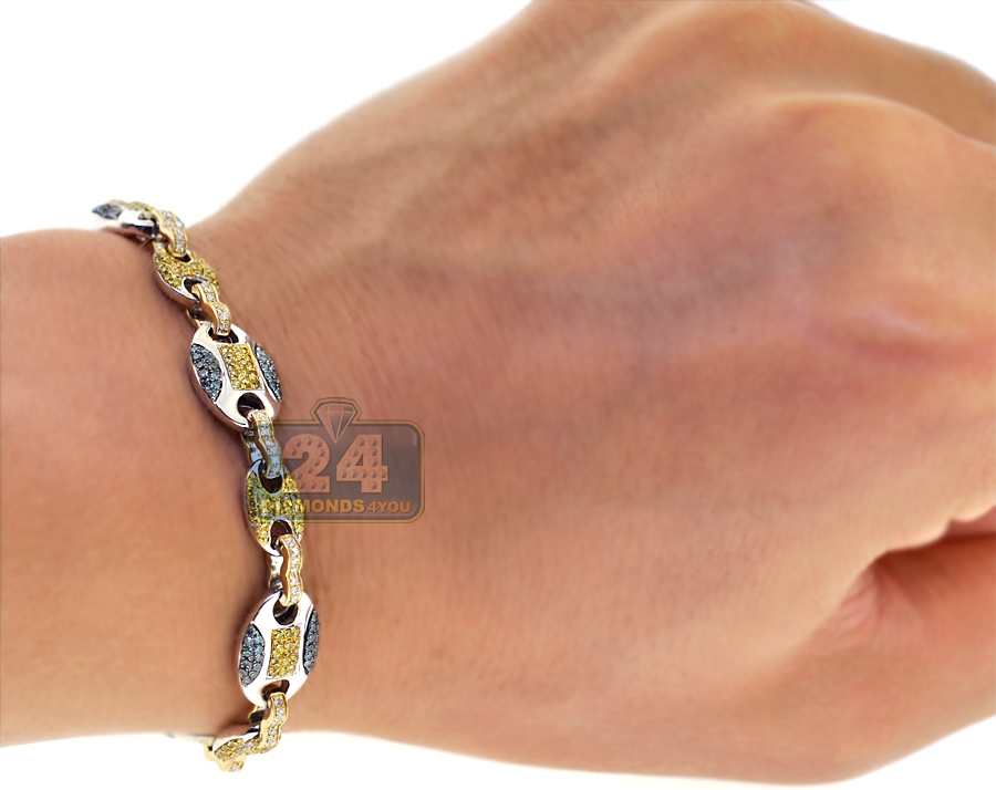 Mens Canary Diamond Mariner Bracelet 14K Two Tone Gold 2 57 ct