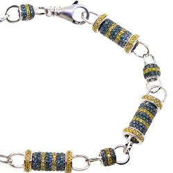 14K White Gold 8.63 ct Blue Diamond Bullet Link Mens Bracelet